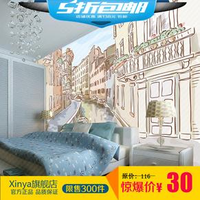 墙纸壁画城市建筑手绘简笔画壁纸客厅卧室电视墙墙布
