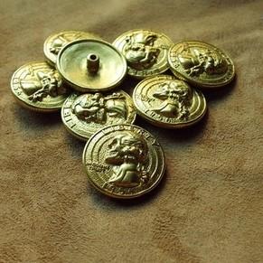 皮雕皮艺 财布扣 装饰扣 纯黄铜骷髅华盛顿总统硬币扣 纯铜 30mm