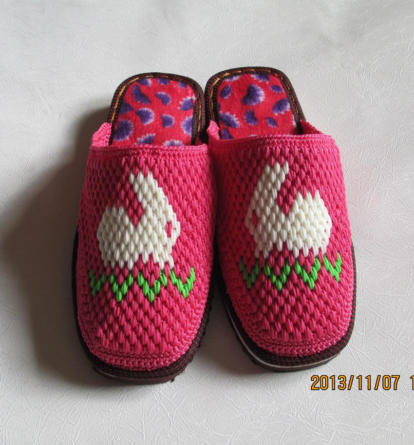 毛线编织拖鞋图案_毛线编织拖鞋图案
