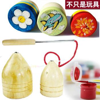 陀螺手绘材料包 手工涂鸦传统玩具