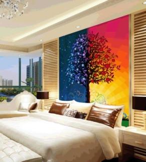 卓麦森大型壁画电视墙客厅沙发欧式油画抽象树背景墙壁纸墙纸欧式