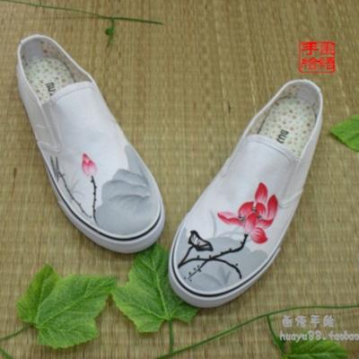 中国风手绘鞋